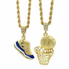 Gold Plated Retro 11 Midnight Blue  Basketball Pendant 4mm 30 Rope Chains