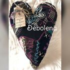 Primitive Heart 1880s Crazy Quilt Amazing Embroidery Tag: Blessed