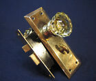 Antique Victorian Mortise Lock Bathroom w/ Privacy Latch, 12 point Crystal knobs