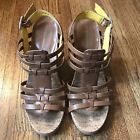 BCBG Wedge Sandals Size 10 Brown Bella Tan Platform Strappy Cork Women's