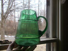 EARLY PONTILED HAND BLOWN GREEN GLASS APOTHECARY PITCHER W CRUDE APPLIED RINGS