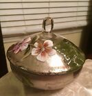 Beautiful Glass Foil Floral Hand painted Bowl with Lid and Finial