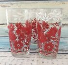 Vintage Glass Hazel Atlas Tumbler Red White Floral Drinkware Lot of 3 Flowers