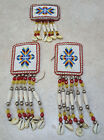 HAND CRAFTED 3 PC NICE BEADED NATIVE AMERICAN INDIAN HAIRTIES AND HAIR COMB SET