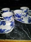 Elegant Teacup and Saucer Set Royal Blue Flowers Set of 4! Tea Party Ready!