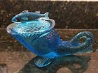 Vintage KEMPLE Dolphin Blue Glass  Dish w Fish Lid Mid Century 7.5