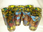 Vintage Mid Century Libbey Stained Glass Fruit Drink Tall Tumbler Highball Set 9