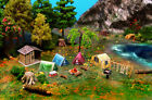 Camping Tent Fishs Grill Restroom  Fire Set N Scale Building DIY Cardstock Kit