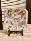 Hand Painted Ivory Color Butterflies Design Japanese Oriental Square Plate
