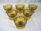 Vintage Indiana Glass King's Crown Thumbprint Amber Footed Sherbet Cups Set of 6