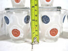 Set of 6 Retro Pocket Watch Blue Red Frosted Drinking Tumbler Shot Glasses Gold