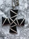 Kenneth Jay Lane Necklace Maltese Cross Black Enamel and Rhinestone Signed JKL