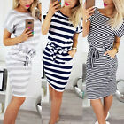 Womens Short Sleeve Bodycon Midi Dress Ladies Summer Casual Pocket Striped Dress