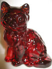 Ruby Red glass Cat Kitten paperweight kitty art figurine gold solid figure royal