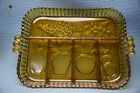 Amber 5-part Divided Relish Dish - Fruits by Indiana Glass Co.