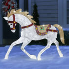 CHRISTMAS HOLIDAY WHITE LED LIGHT UP CAROUSEL HORSE INDOOR OUTDOOR