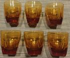 6 Vintage 1960s Bar Drinking Cocktail Yellow Honey Glasses Square Bottom Round