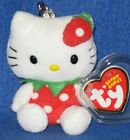 RARE TY HELLO KITTY STRAWBERRY KEY CLIP BEANIE BABY - MINT with MINT TAGS