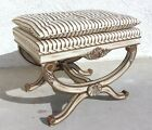 Antique Style Vanity Bench Stool Carved Wood Hollywood Regency French Decor