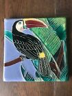 Vintage Toucan Art Tile Hand Made Hand Painted  Colorful Maybe Signed JC? TD?