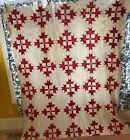 Red and white antique quilt top Crown of Thorns