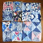 Vintage Depression Era blue feedsack lot 24 quilt blocks hourglass 4-patch mixed