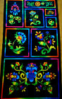 Fabric Quilt Panel Hanging Blue Green Pink Yellow Floral Black Moda Cotton OOP