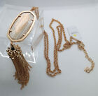 NWT Kendra Scott Rayne Long Pendant Necklace in Gold Dusted Glass Rose Gold
