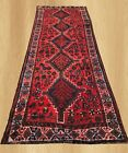 Authentic Hand Knotted Vintage Persian Sheraz Pictorial Wool Area Runner 9x3 FT