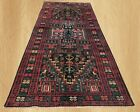 Authentic Hand Knotted Vintage Afghan Balouch Pictorial Wool Area Rug 9 x 4 FT
