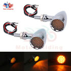 Universal Motorcycle LED Turn Signal Brake Bullet Amber Light For Bobber Chopper