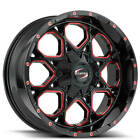4pcs 20x12 Scorpion Wheels SC 10 Black with Red Milled Off Road Rims