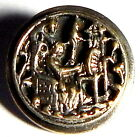 ANTIQUE VICTORIAN PICTURE BUTTON w/SLEEPING BEAUTY AT HER SPINNING WHEEL