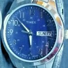 Timex Men's Silver-Tone Watch 24 Hour Stainless Steel Stretch Band Day Date WR30