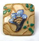 Antique Victorian Glass Button Square w Enameled Flower 3/4