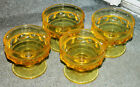 Vintage set 4 Yellow Kings Crown Thumbprint Footed Sherbet Dishes Indiana Glass