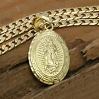 Mens 18k Gold Plated Big Oval Guadalupe Brass Pendant 6mm 24 Cuban Chain