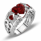 Elegant 925 Sterling Silver Heart Shape Ruby Garnet Engagement Ring Size 9