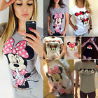 US Womens Mickey Minnie Mouse Casual T shirt Short Sleeve Blouse Cotton Tee Tops