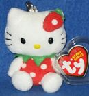 RARE TY HELLO KITTY STRAWBERRY KEY CLIP BEANIE BABY - MINT with TAG - SEE PICS