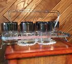 Dorothy Thorpe? Silver Fade Rocks Glasses with Caddy Nice Mid Century