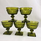 Vintage Indiana Glass Olive Green Sherbet Dishes Mt Vernon Footed Set of 5