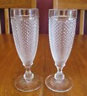Beautiful Pair Ivima Diamond Point Clear Glass Champagne Flutes Wine Glasses