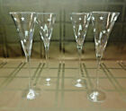 Vintage Champagne/Wine/Cordial Glasses with Etched Star Design - Set of 4