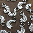 10 pcs Moon and Stars Charms Pendants Antiqued Silver Tone Double Sided 13x21mm