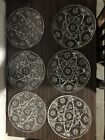 6 EAPC EARLY AMERICAN PRESCUT DINNER PLATE S CLEAR ANCHOR HOCKING STAR OF DAVID