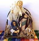 Nativity Set Christmas Fabric Dolls Raffa Hair Wood Twigs Hand Crafted SWEET