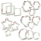 Basic Stars Hearts Circle Flowers Squares Cookie Cutter Set 15 Pieces