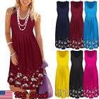 USA Womens Summer Cotton Vest Sleeveless Sundress Beach Loose Dress Tank Top