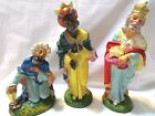 VINTAGE NATIVITY MAGI KINGS FOR 10 SET 3 PC ITALY PAPER MACHE COMPOSITION